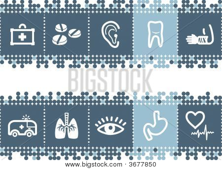 Blue Dots Bar With Medicine Icons