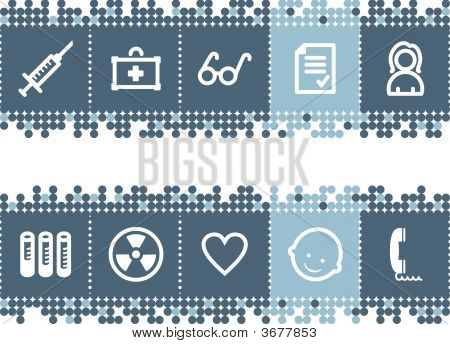 Blue Dots Bar With Medicine Icons, Set 2
