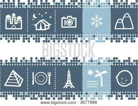 Blue Dots Bar With Tourist Guide Icons