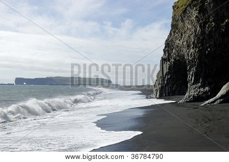 Black Volcanic Beach, South Iceland.