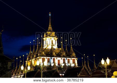 Loha Prasat Metal Palace At Night