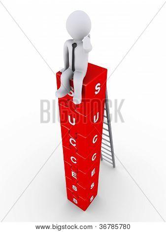 Businessman Is Sitting On Success Blocks