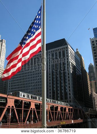 TRAIN AND U.S FLAG (Chicago, Illinois)