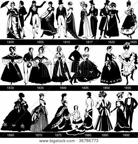 1800-1900 fashion silhouettes