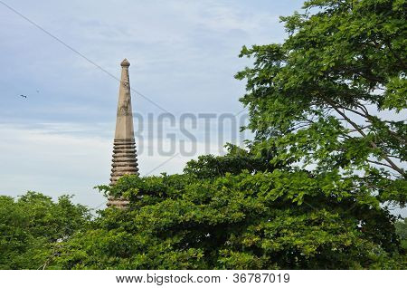 Top Of Ancient Pagoda In Ruined Old Temple At Wat Yai Chai Mongkol Temple