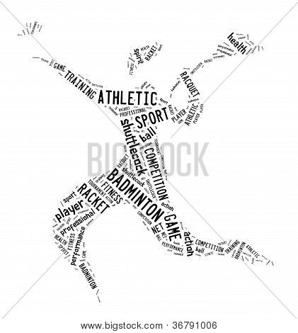 Badminton Player Pictogram With Black Color Words On White Background