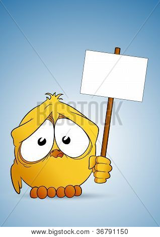 Chick with signboard