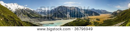 Hooker Valley And Mount Cook Panorama, Mount Cook National Park, New Zealand