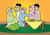 stock photo of fitri  - Indonesian family muslim eid mubarak celebration day - JPG