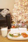 image of rudolph  - Food for Santa and Rudolph near Christmas tree at home - JPG