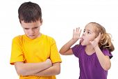 stock photo of nasty  - Mocking and teasing among children  - JPG