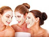 stock photo of beauty parlour  - Group women with  facial mask in beauty spa - JPG
