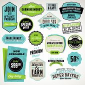stock photo of joining  - Set of vector badges and stickers for affiliate and referral - JPG
