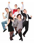 Постер, плакат: Счастливый улыбается прыжки группы