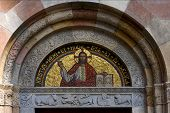 foto of castello brown  - over the door of the church of san babila - JPG