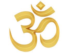 foto of ohm  - Golden Om symbol Isolated on White Background - JPG