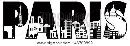 Paris City Skyline texto contorno ilustración
