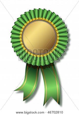Green award over white