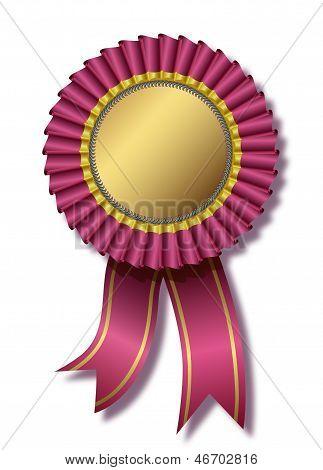 Pink award over white