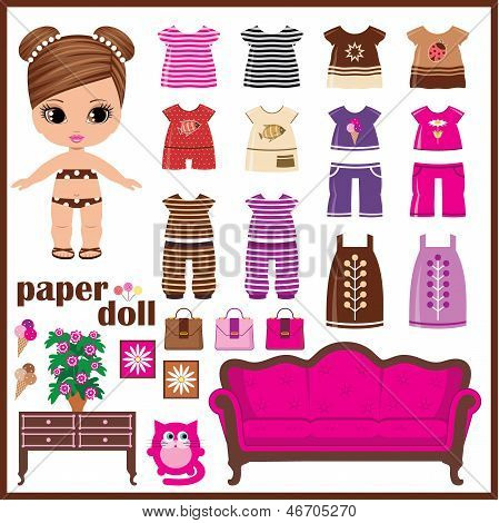 Paper Doll With Clothes Set.