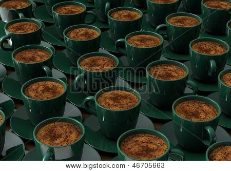 Cups With Coffee On Wooden Table