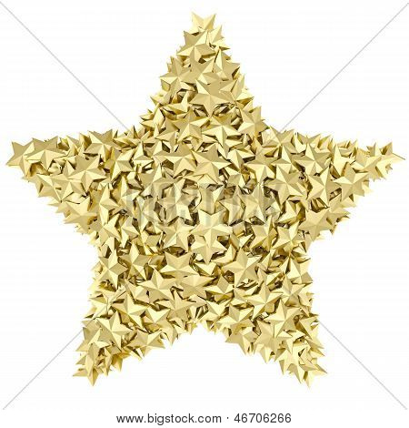Star Shape Composed Of Small Golden Stars On White