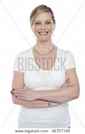 Caucasian Woman Posing With Arms Crossed