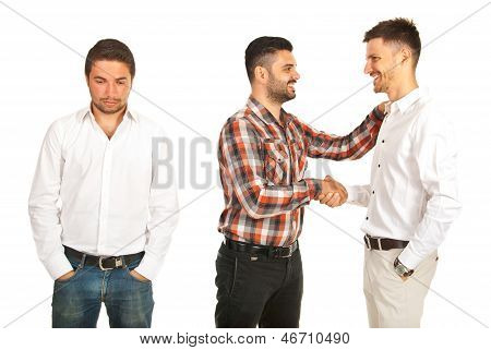 Two Men Handshaking And One It Is Disappointed