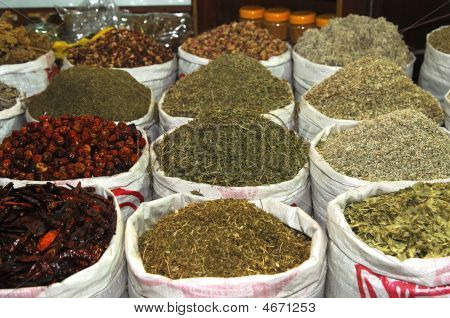 Exotic Spices On A Green Market