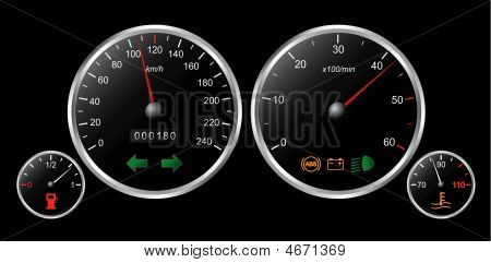 Set Of Dashboard Of A Car