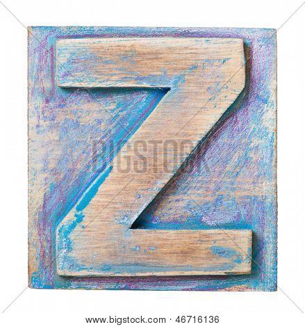 Wooden alphabet block, letter Z