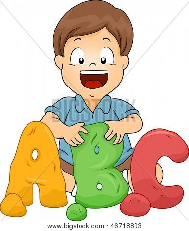 Illustration of a Little Kid Boy Molding ABC letters from Clay