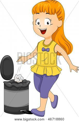 Illustration of a Female Kid Throwing Garbage in the Trash Bin