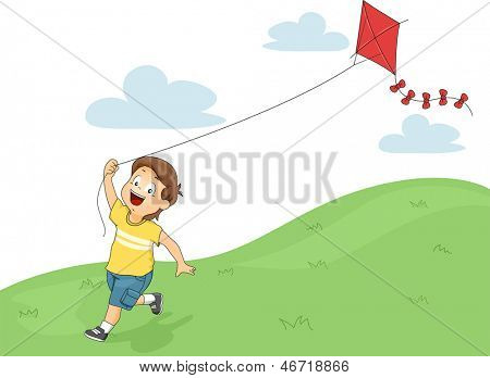 Illustration of a Running Little Kid Boy while Flying a Kite