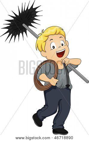Illustration of a Little Kid Boy Chimney Sweep