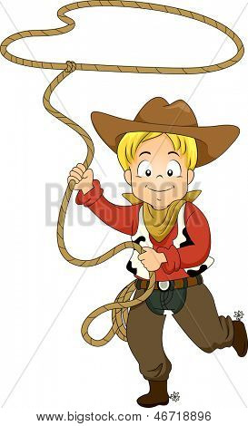 Illustration of a Kid Boy wearing a Cowboy Costume while swinging a Rope