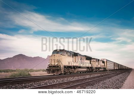 Freight train locomotive in Arizona, USA