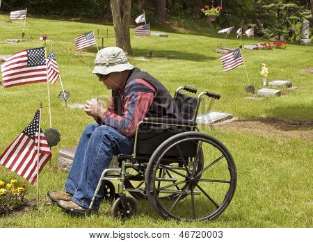 Disabled Man At The Cemetery