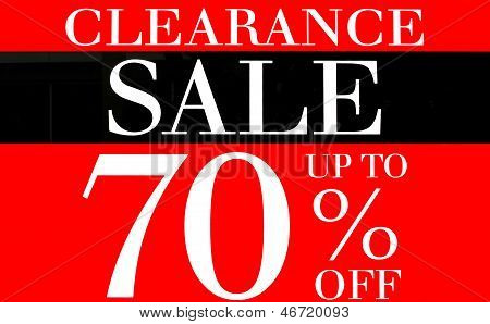 Clearance Sale Up To 70 Percents Promotion Label