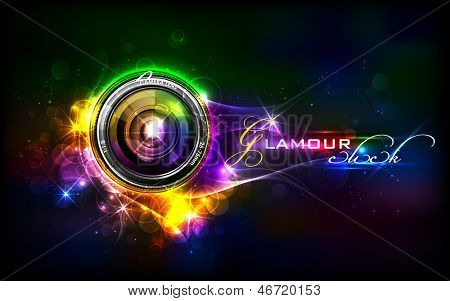 illustration of camera lens in glamour background