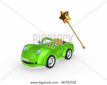 Green car and magic wand.