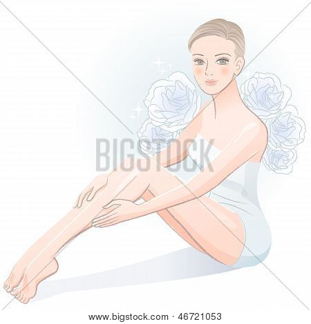 Beautiful Spa Woman Sitting And Massaging Her Legs