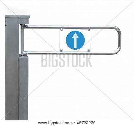 Entrance Tourniquet, Detailed Turnstile, Stainless Steel, Arrow Sign Isolated Closeup Access Control