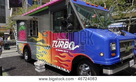 LOS ANGELES - JUN 12: Turbo Food Truck at the Turbo-Charged Party and Surpise Pop-Up concert at L.A. Live for E3 Gaming Convention at Nokia Plaza L.A. LIVE on June 12, 2013 in Los Angeles, California