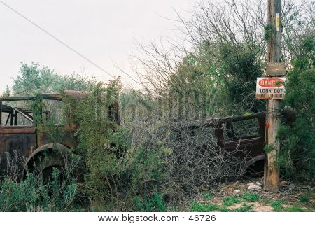 Vintage Cars W/ Beware Of Truck Sign
