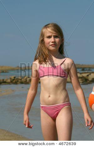 teenage girl pink swinsuit image amp photo bigstock