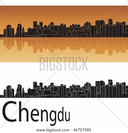 Chengdu Skyline In Orange Background