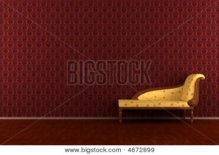 Classic Sofa In Front Of Red Wall