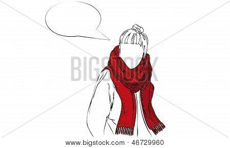 Isolated Vector Illustration of Female Wearing Red Patterned Scarf with Speech Bubble