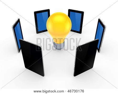 Tablet PCs around yellow lamp.